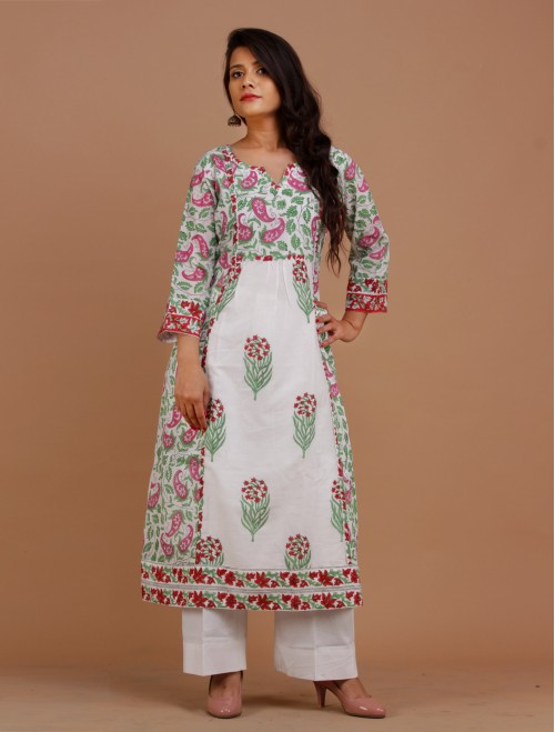 White Floral Handblock Printed Cotton Ku...