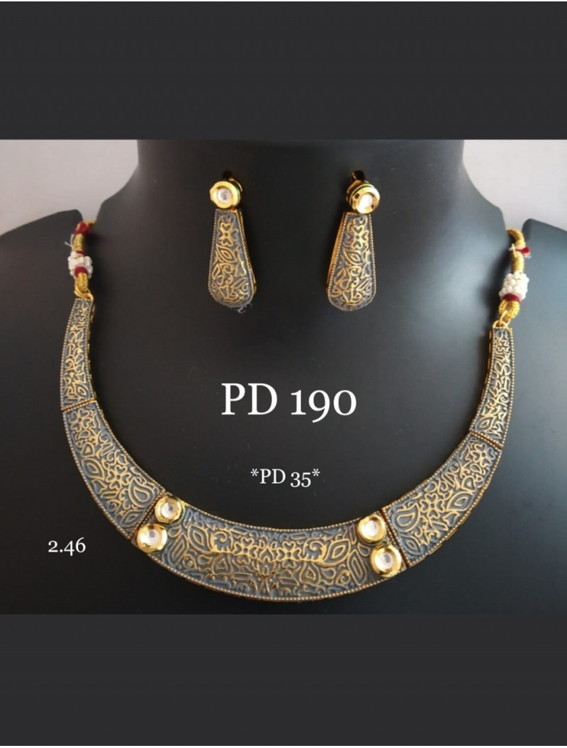 Brass Jhumki Necklace set