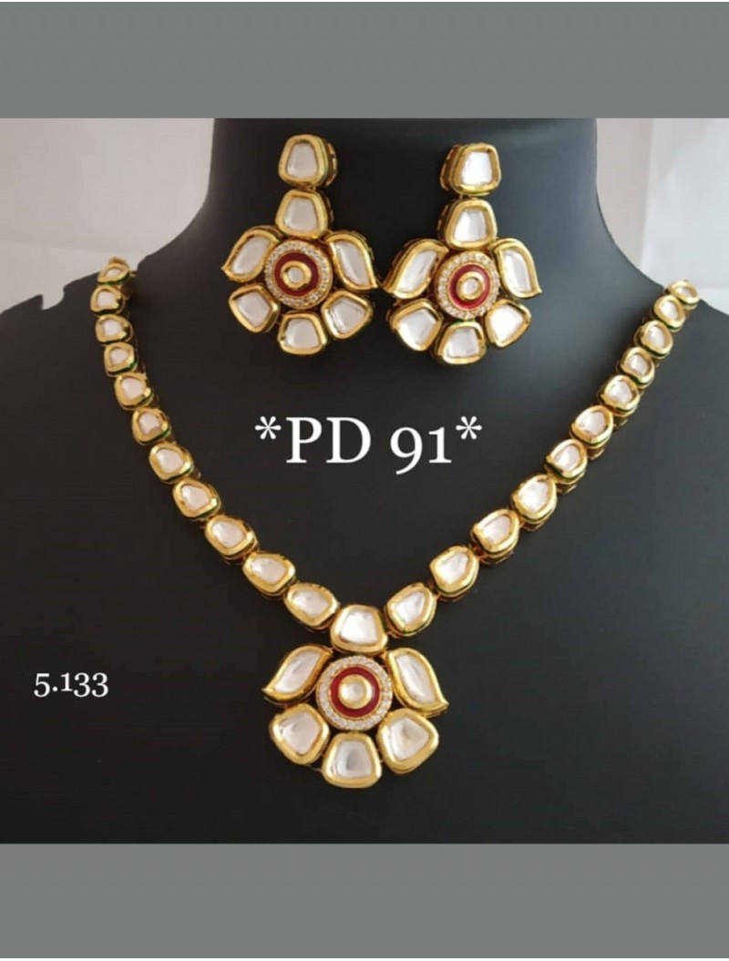 Red Floral Jhumki Necklace Set