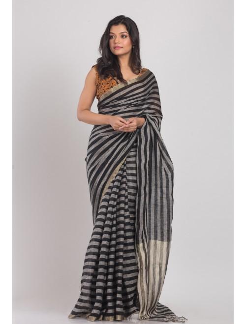 Black Grey Handloom Linen Saree