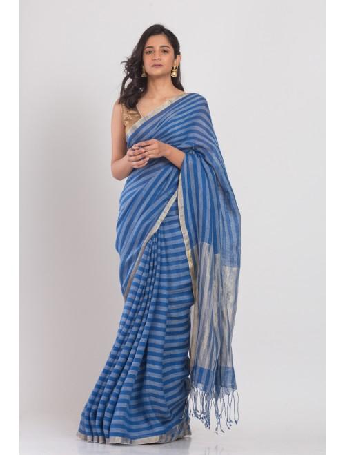 Blue Beige Handloom Linen Saree