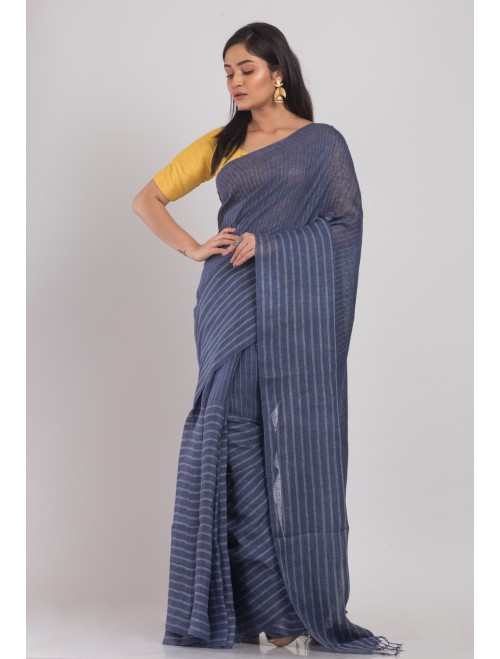 Blue handloom linen saree