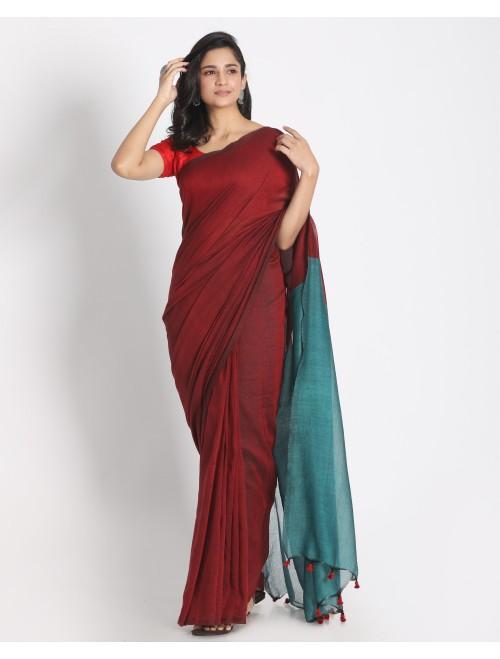 Ahilya Maroon Khadi cotton handloom sare...