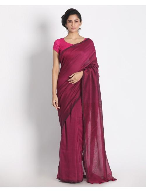 Ahilya Pink Khadi cotton handloom saree