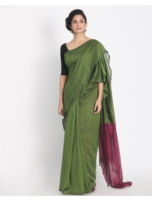 Ahilya Green Khadi cotton handloom saree