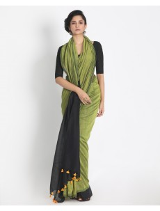 Ahilya Light lime Khadi cotton handloom saree