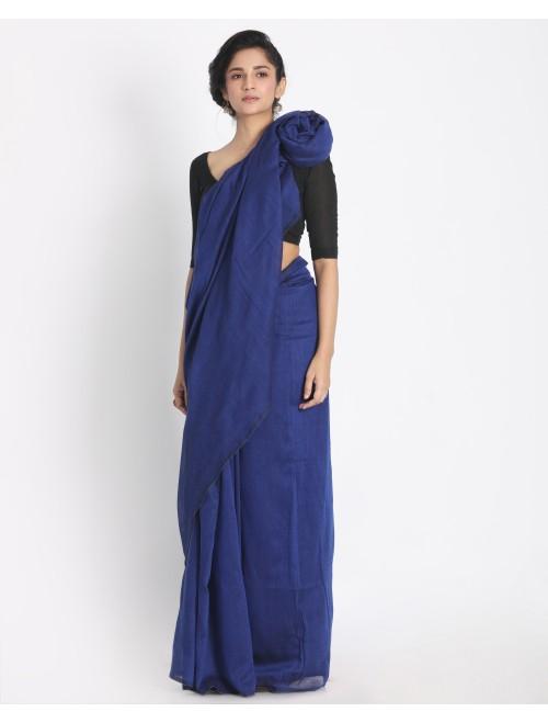 Ahilya Blue Khadi cotton handloom saree