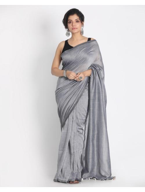 Ahilya Silver grey Khadi cotton handloom...