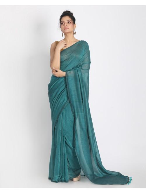 Ahilya Dark Green Khadi cotton handloom ...