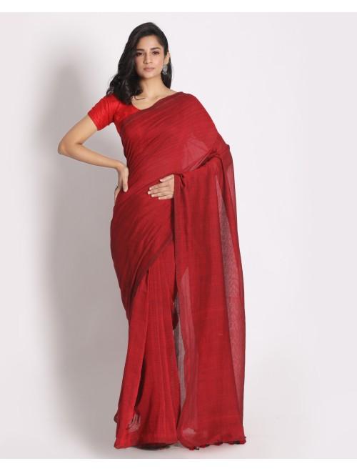 Ahilya Red Khadi Cotton Handloom Saree