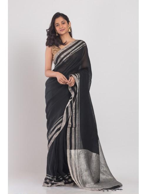 Black linen saree with silver zari pallu...