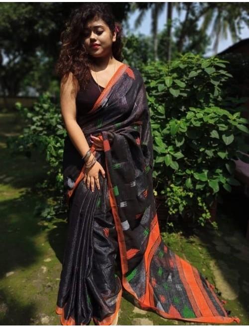 Alaknanda Black Tissue Cotton with Jamda...