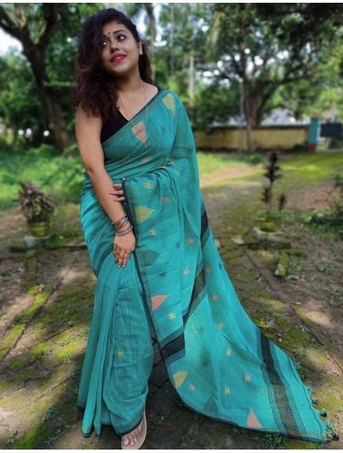 Alaknanda Blue Tissue Cotton with Jamdan...