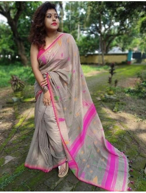 Alaknanda Brown Tissue Cotton with Jamda...
