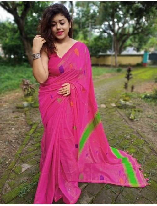 Alaknanda Dark Pink Tissue Cotton with J...