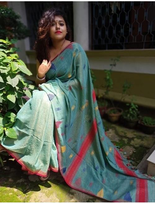 Alaknanda Greenish Blue Tissue Cotton wi...