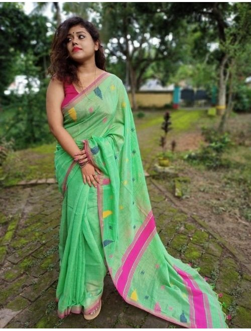Alaknanda Light Green Tissue Cotton with...