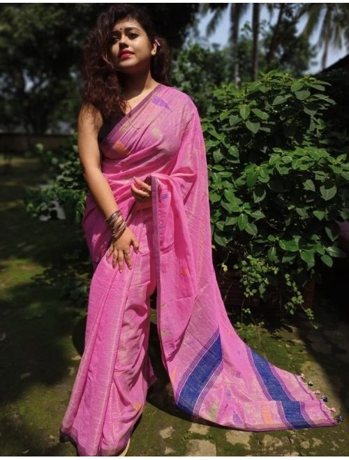 Alaknanda Light Pink Tissue Cotton with ...