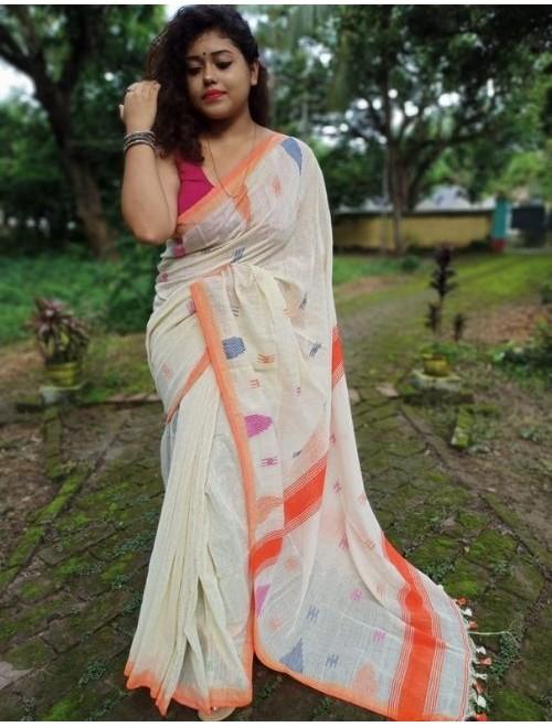 Alaknanda Off White Tissue Cotton with J...