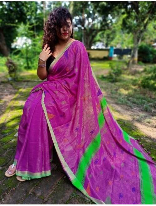 Alaknanda Pink Dark Tissue Cotton with J...