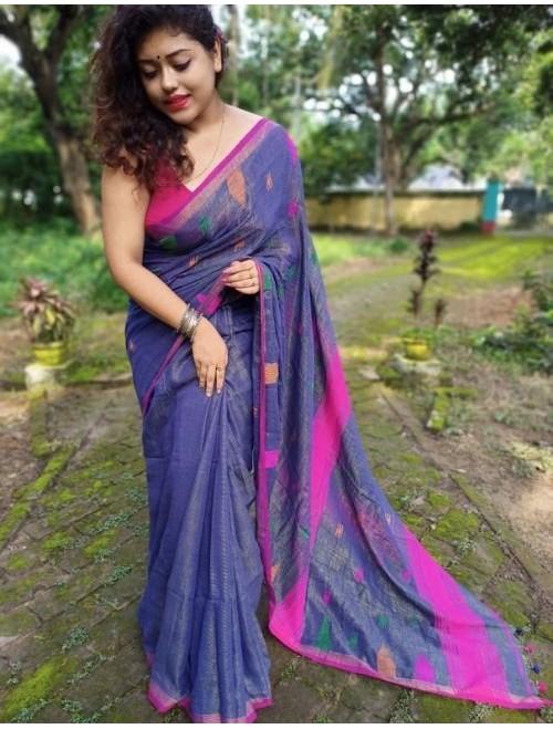 Alaknanda Purple Tissue Cotton with Jamd...