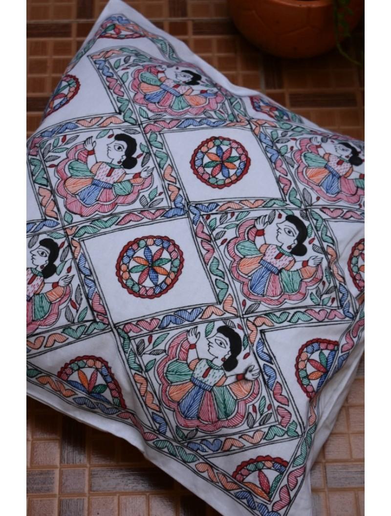 Nritya Madhubani Cushion Cover-Set of 4 covers