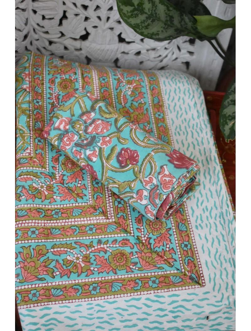 Green Handblock printed Double Bedsheet