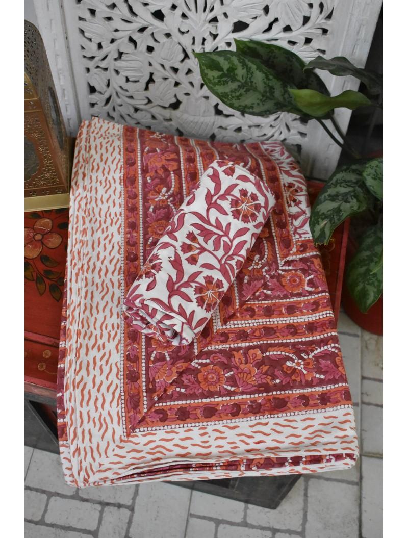Red Handblock printed Double Bedsheet