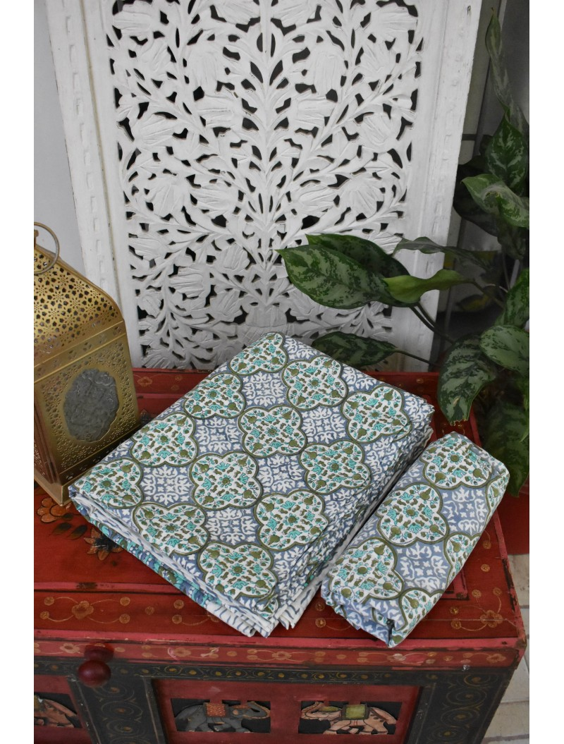 Muglai Print Handblock printed Double Bedsheet
