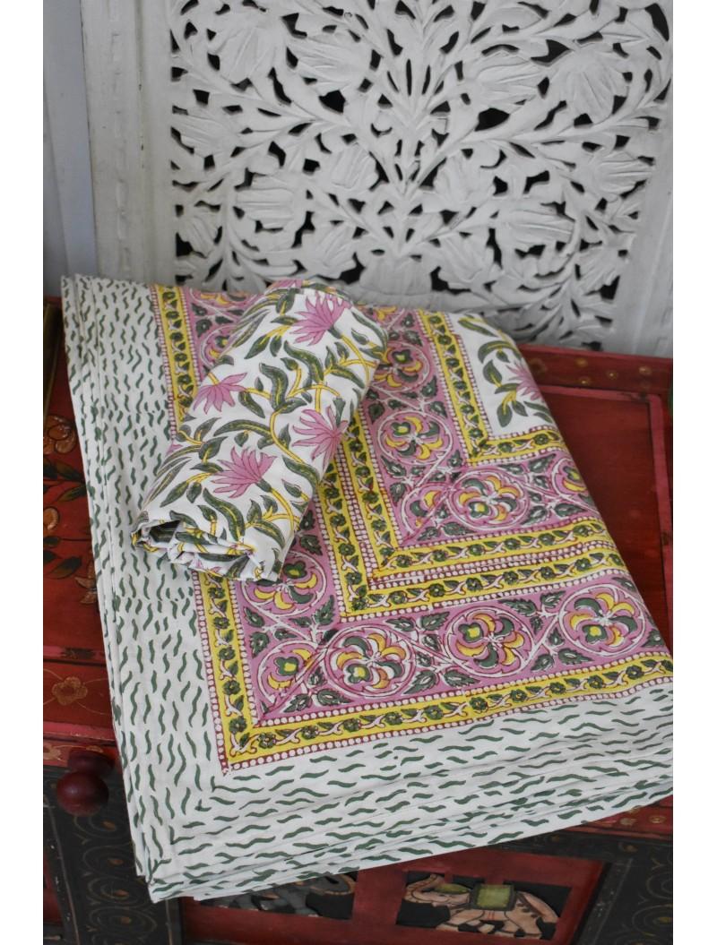 Floral Print Handblock printed Double Bedsheet