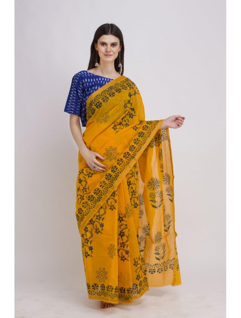 Handblock Printed Chanderi Yellow Cotton Silk Saree