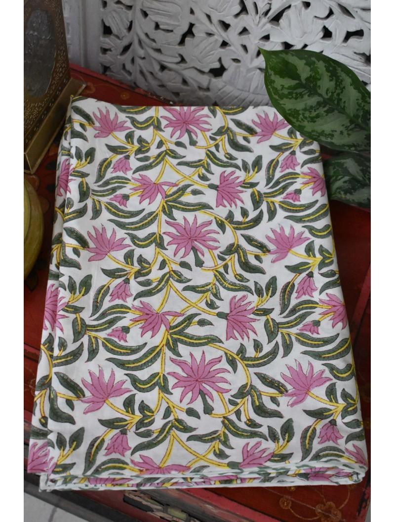 Pink Handblock Printed Table Cover