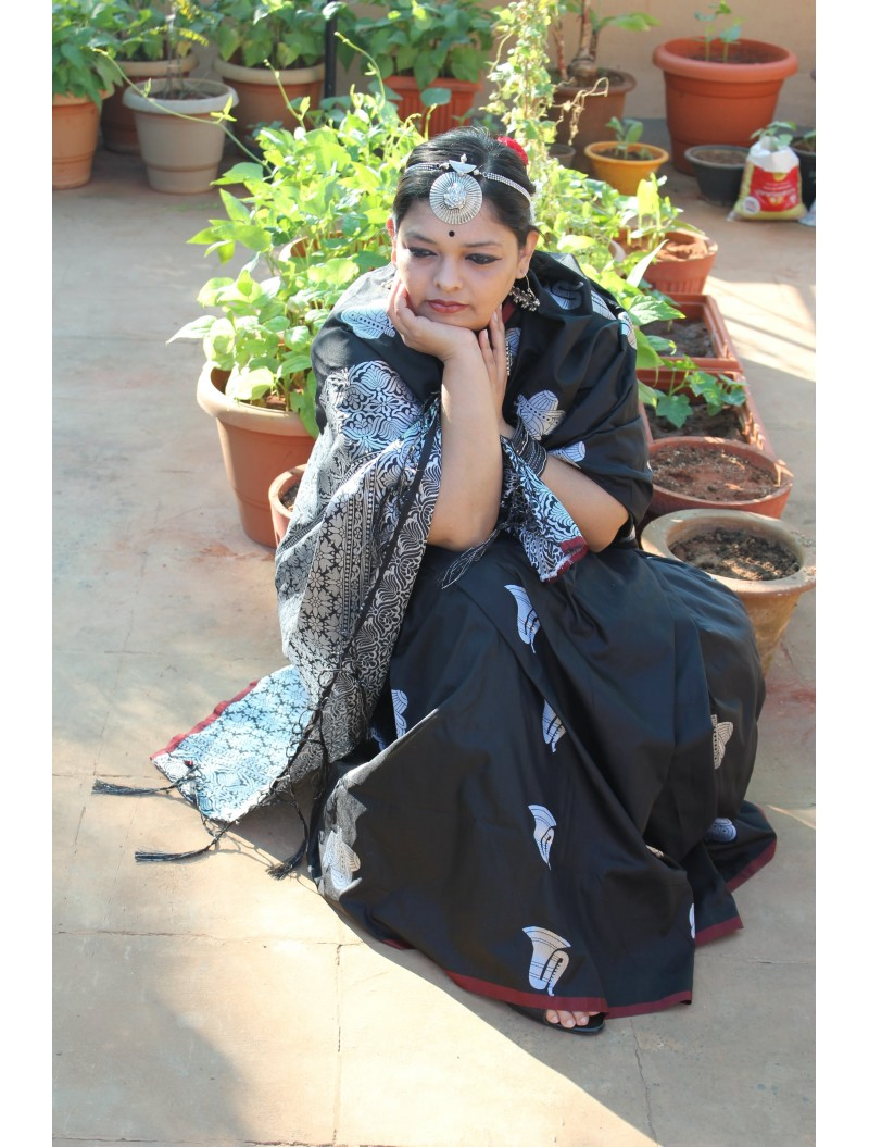 Black Zari woven Banarsi Saree