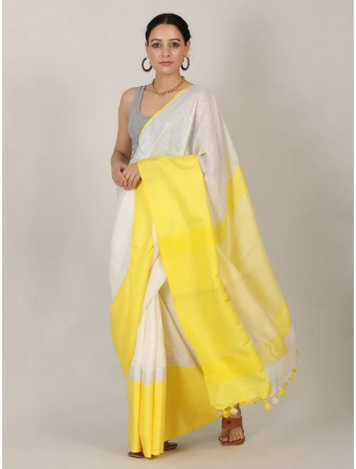 Yellow White Zari Linen Saree