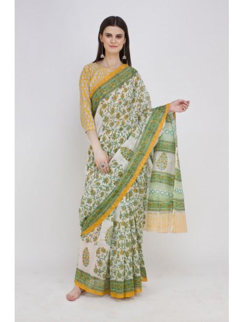 Green White Handblock Printed Chanderi C...