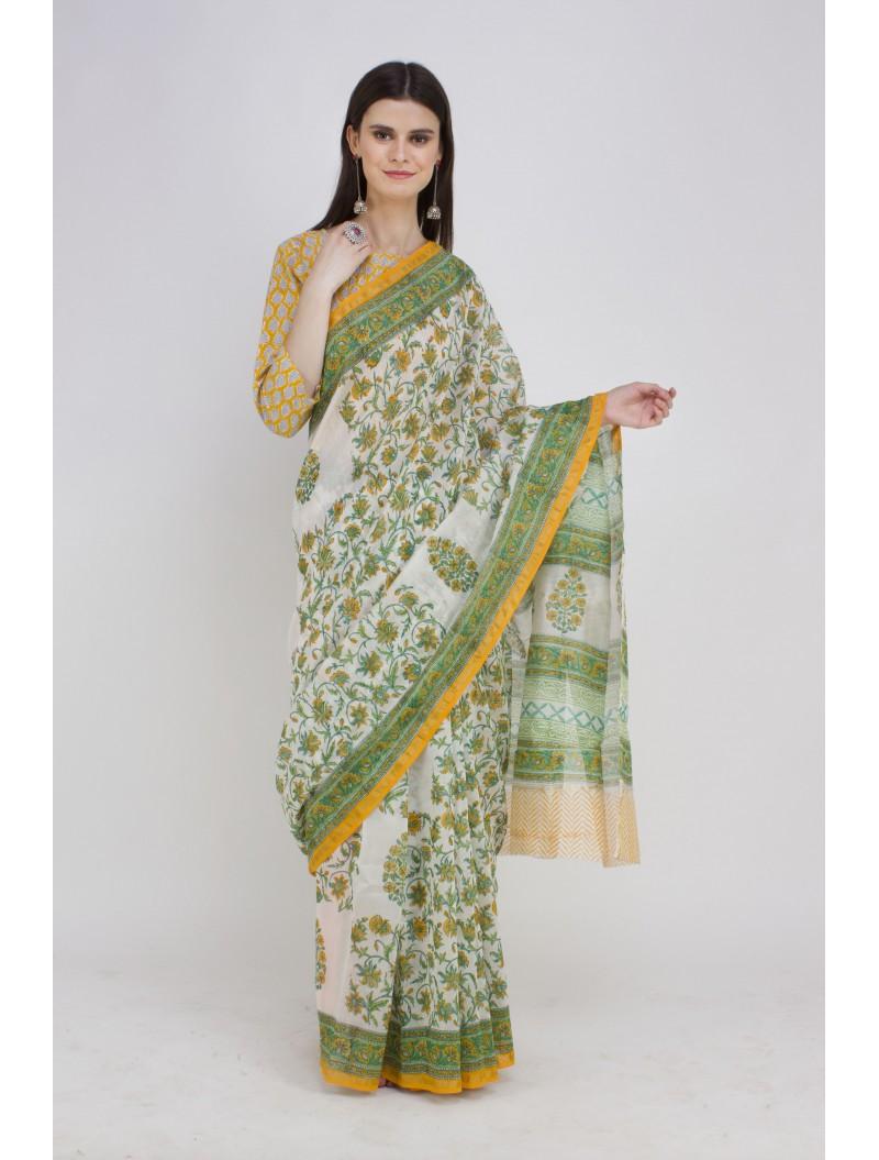 Green White Handblock Printed Chanderi Cotton Silk Saree