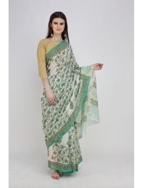 Green white Handblock Printed Chanderi S...