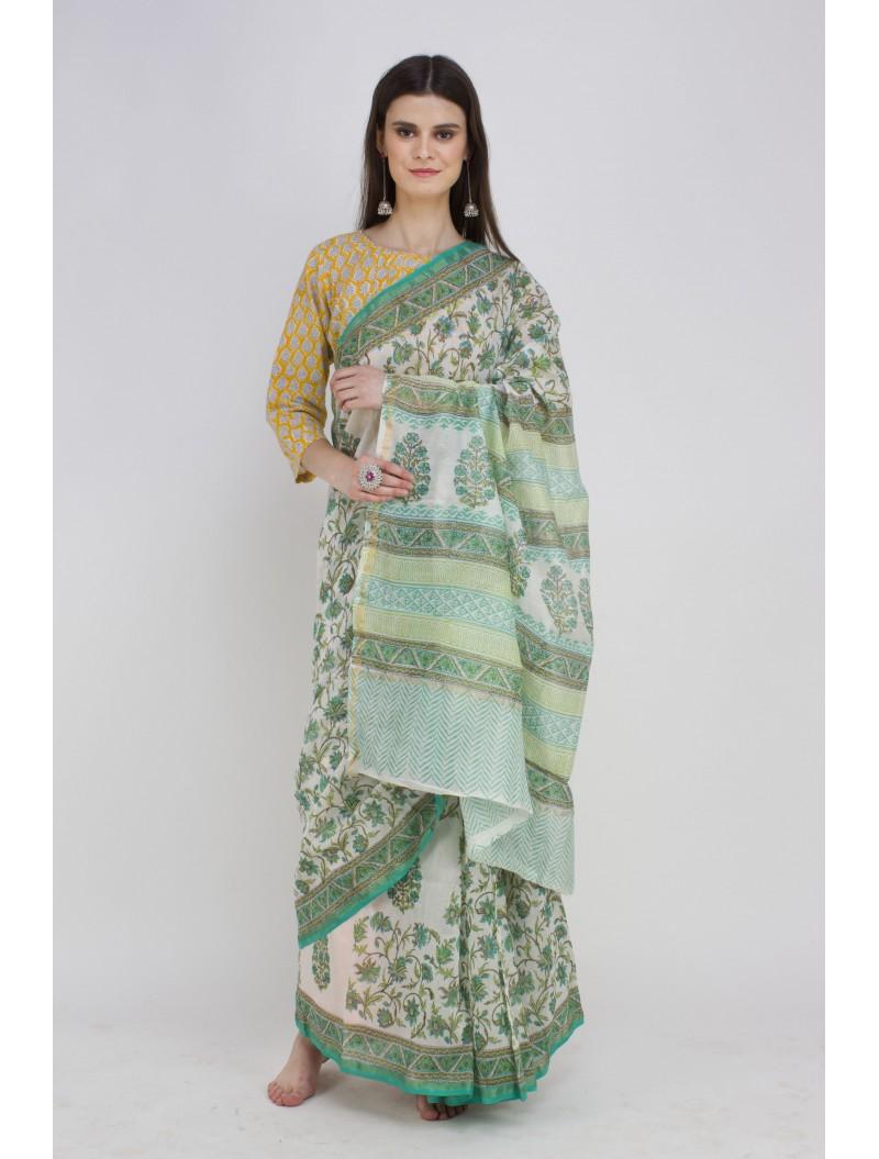 Green white Handblock Printed Chanderi Silk Saree