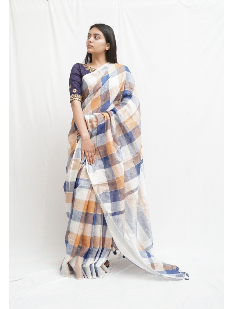 Blue White Checkered Linen Saree