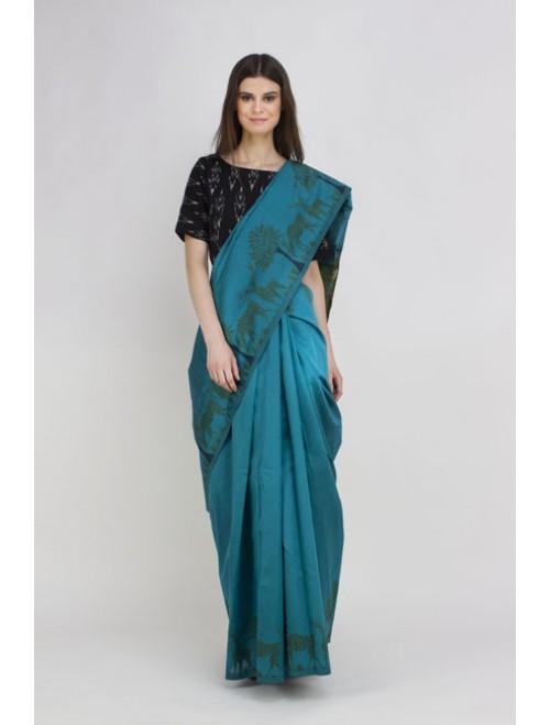 Green Semi-Raw Silk Kalamkari Woven Sare...