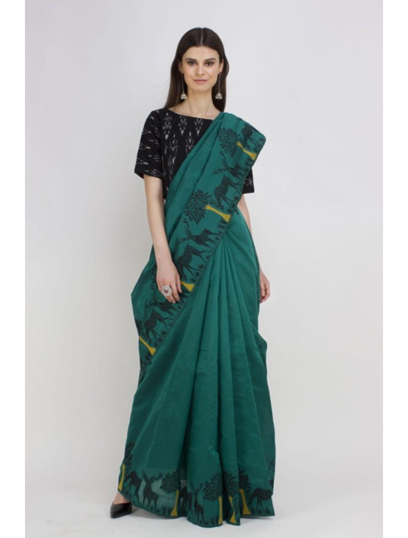 Green Semi-Raw Silk Kalamkari Woven Saree