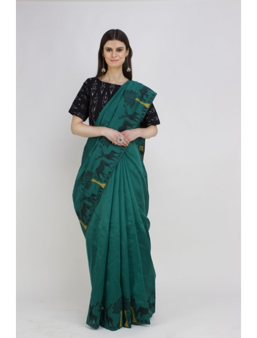 Green Semi-Raw Silk Kalamkari Woven Sare...