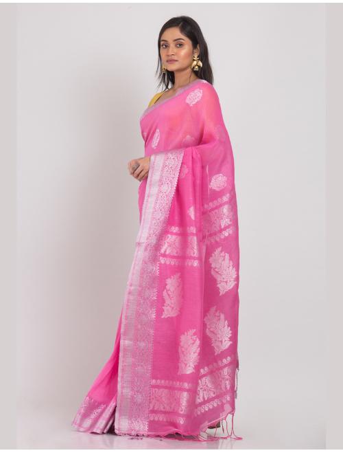 Kohinoor Banarasi Cotton Linen Pink Sare...