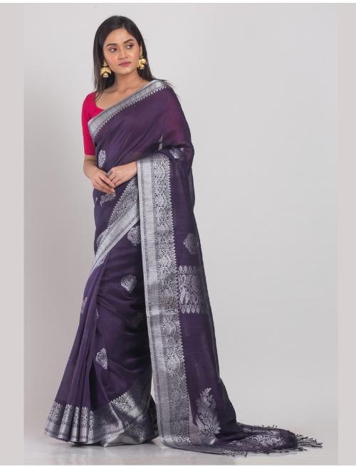 Kohinoor Banarasi Cotton Linen Violet Sa...