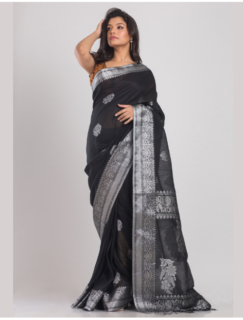 Kohinoor Banarasi Cotton Linen Black Sar...