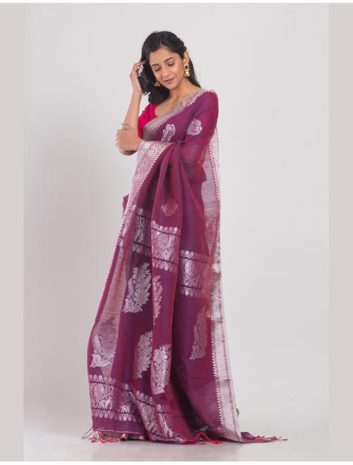 Kohinoor Banarsi Cotton Linen Purple Sar...