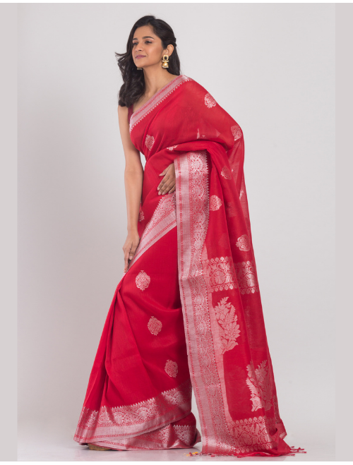 Kohinoor Banarasi Cotton Linen Red saree