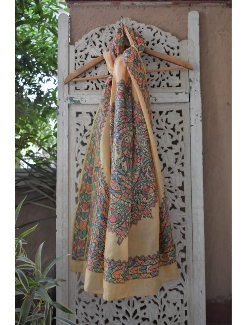 Off- White Tusser Silk Madhubani Dupatta