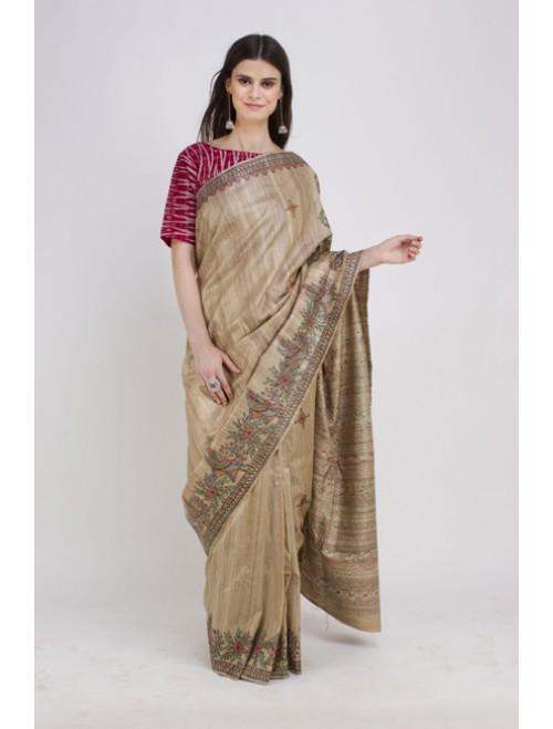 Beige Hand-painted Madhubani Tusser Silk...