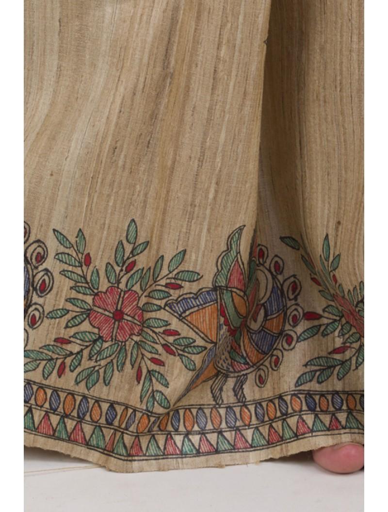 Beige Hand-painted Madhubani Tusser Silk Saree